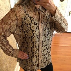 Chico's Bronzed Gold Lace Sheer Blouse Sz3 XL 16